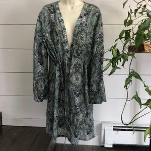 Athleta Sheer Swimsuit Cover Up Dress Paisley 1X